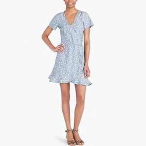 *NWT* J.Crew Chambray Print Ruffle Faux-Wrap Dress